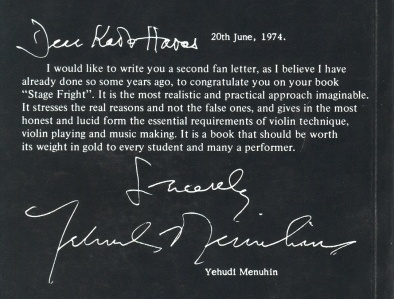 Stage fright book - Menuhin's letter