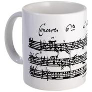 Coffee Mug with the facsimile of Bach's Brandenburg Concerto 6 for two violas. The Perfect Music Gift for all viola players, viola lovers and music and coffee lovers