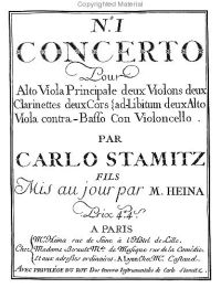 Stamitz viola concerto - Facsimile of frontispiece the first edition