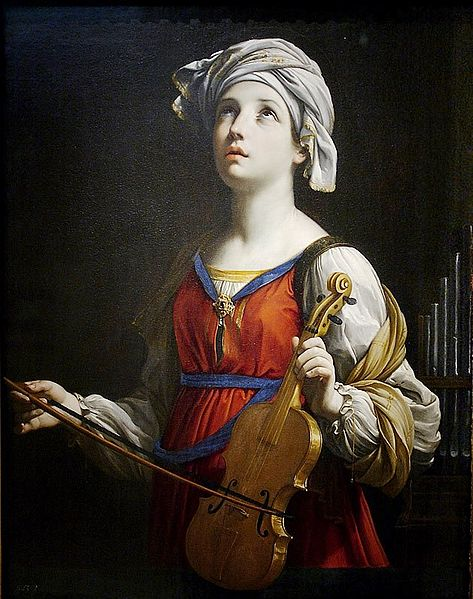 Patron saint of musicians, did she play the viola? Saint Cecilia by Guido Reni, 1606