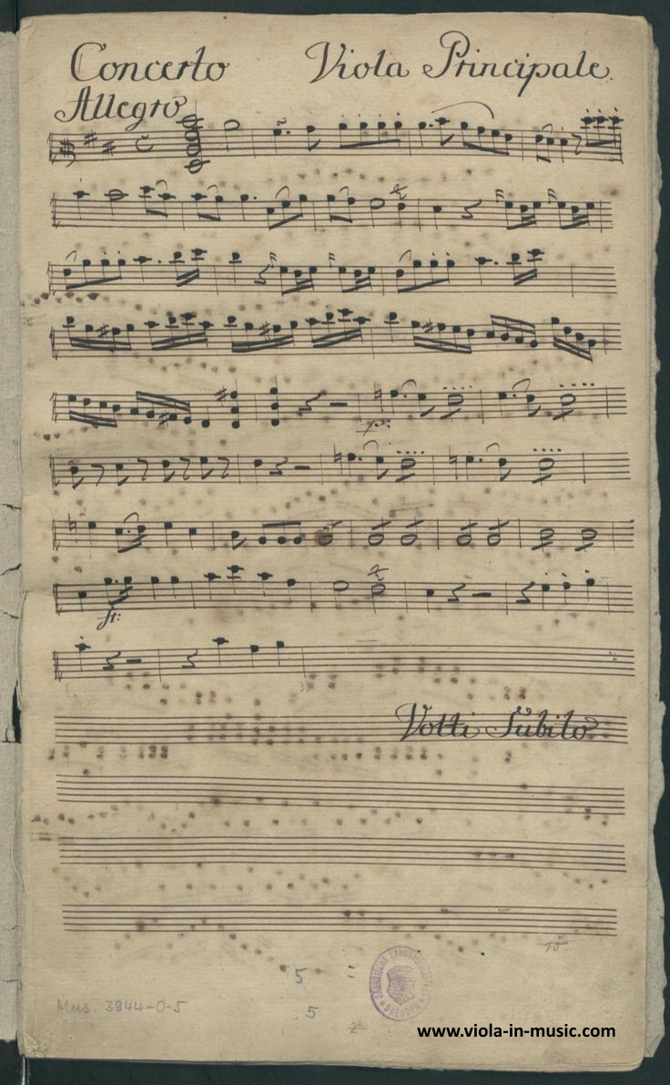 Manuscript of the first page of the Viola concerto in D major by Franz Anton Hoffmeister. He was also a publisher and friend of Mozart and Beethoven