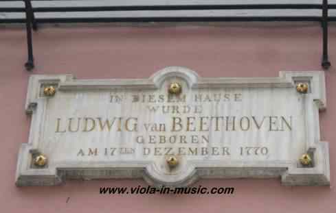 Plaque on Beethoven's house in Bonn, where he was born and where his viola is kept
