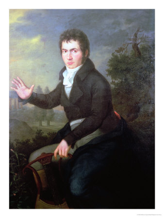 Portrait of the young Beethoven with a lyre