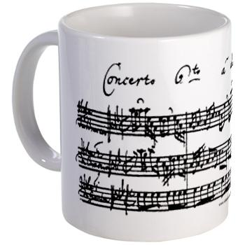 Coffee Mug with the facsimile of Bach's Brandenburg Concerto 6 for two violas