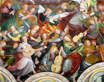 The Concert of Angels (Angeli Musicanti), 1534-36 Gaudenzio Ferrari<br>  Early examples of violas in painting