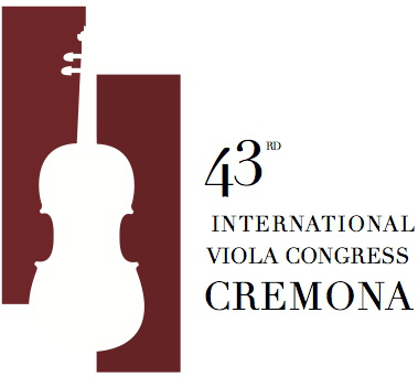 Logo of the 43rd International Viola Congress. This year it will be hosted by the city where the viola and other string instruments were created, beautiful Cremona. Not to be missed!