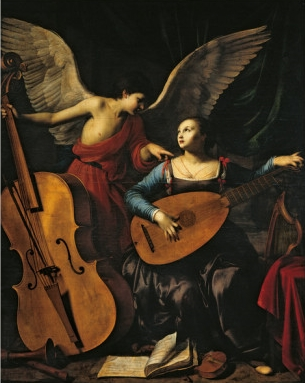 Patron saint of musicians, did she play the viola? Saint Cecilia And The Angel, by Carlo Saraceni, circa 1610