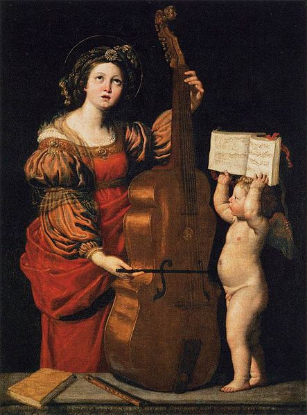 Patron saint of musicians, did she play the viola? Saint Cecilia by Guido Reni, 1617