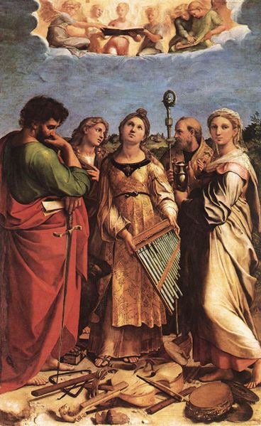 Patron saint of musicians, did she play the viola? Saint Cecilia by Raphael, 1514