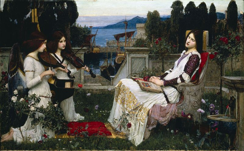 Patron saint of musicians, did she play the viola? Saint Cecilia, by John William Waterhouse, 1895