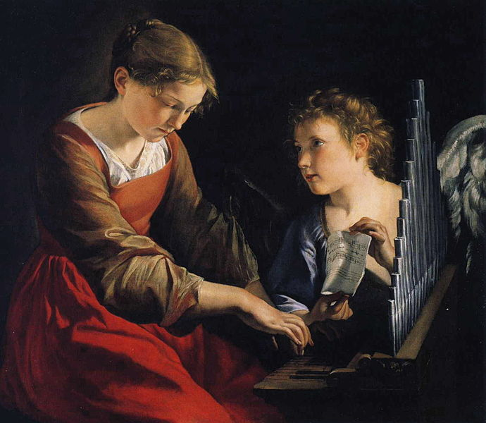 Patron saint of musicians, did she play the viola? Saint Cecilia with an angel, by Orazio Gentileschi, 1618-1621