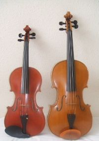 Differences between Violin and Viola: size, clef, range, strings, repertoire