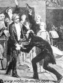 Berlioz and Paganini - Paganini kneeling before Berlioz and kissing his hands after hearing a performance of Symphonie Fantastique and Harold in Italy conducted by Berlioz. Buy this poster