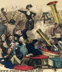 A Concert of Hector Berlioz in 1846. Caricature of Berlioz conducting an orchestra including cannons... Berlioz loved the viola and composed Harold in Italy for it, at Paganini's request