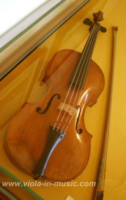 Beethoven played the viola in Bonn's orchestras to support his family. This is his viola, in Beethoven Haus, where he was born