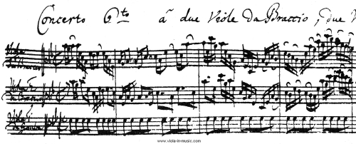 Facsimile of Bach's Brandenburg Concerto 6 for 2 violas that has a very unusual set of instruments. It's a lesser known yet very charming composition featuring 2 solo violas