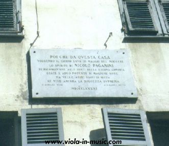 Paganini's house in Nice, where he died in 1840, with a commemorative plaque