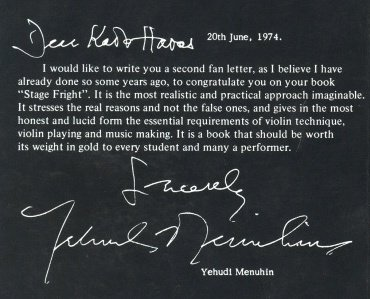 Buy Kato Havas's book Stage fright. Congatulation letter by Yehudi Menuhin